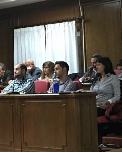El Grupo Municipal Ciudadanos (C's) Azuqueca durante el Pleno de ayer.