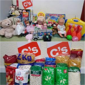 Imagen de los alimentos y juguetes recogidos durante la campaña.