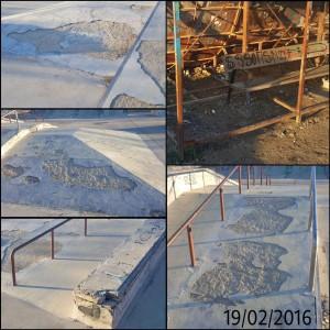 Varias imágenes de los desperfectos en el Skate Park.