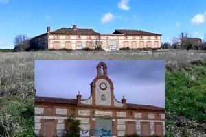 Edificio principal del Poblado de Villaflores antes y después del derrumbe - Fuente: Guadaqué